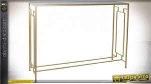 Console de style moderne chic en métal finition dorée, plateau en verre fumé, 106.5cm