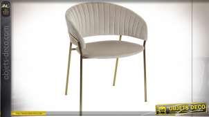 Chaise en velours finition crème et dorée style cosy moderne, 73cm