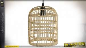 Suspension luminaire en forme de cage à oiseaux en rotin finition naturelle style tropical, 25cm