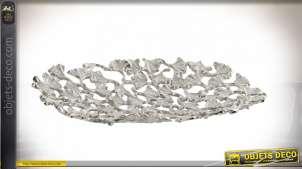 Centre de table de style moderne en alumium esprit lit de feuilles automnales finition argentée, 48cm