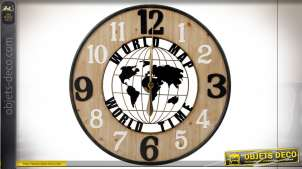 Horloge murale tricolore en bois et fer esprit globe-trotter, 80cm