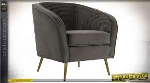 Fauteuil de style rétro en velours finition gris anthracite,73cm