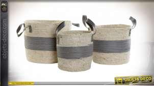 Série de trois corbeilles avec anses en fibre naturelle tressée finition beige et grise, 35cm