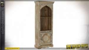 Bibliothèque colonne en voûte orientale peinte à l'acrylique de motifs arabesques, bois de manguier finition brun clair, 151cm