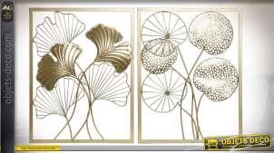 Série de deux décorations murales en métal finition dorée de style moderne chic, 60cm
