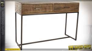 Console à deux tiroirs en bois d'acacia et métal finition brun foncé et noir de style chalet moderne, 120cm