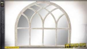 Miroir fenêtre en bois de manguier arqué finition blanc usé de style gothique, 90cm