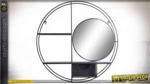 Étagère murale circulaire esprit industriel en métal noir, 70cm