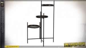 Étagère pour plantes à trois étages pivotants en métal finition noire esprit industriel, 111cm