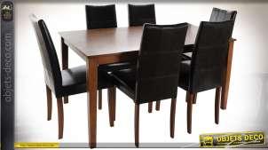 TABLE SET 6 CHÊNE PU 150X90X74 MARRON FONCÉ