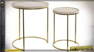 TABLE AUXILIAIRE SET 2 BOIS MÉTAL 42,5X42,5X50,5