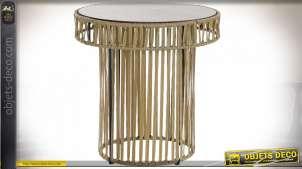 TABLE AUXILIAIRE MÉTAL COTON 60,5X60,5X61 NATUREL