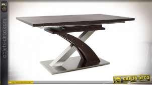 TABLE ACIER MDF 160X90X77 EXTENSIBLE MARRON FONCÉ