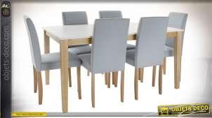 TABLE SET 6 CHÊNE POLYESTER 150X90X74 LAQUÉ BLANC