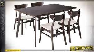 TABLE SET 4 CHÊNE POLYESTER 120X75X74 MARRON
