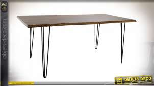 TABLE ACACIA MÉTAL 180X92X76 MARRON