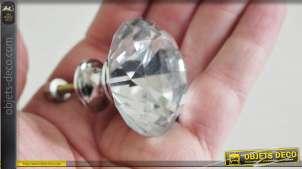 Bouton de meuble en verre translucide poli et taillé, forme ronde multifacette, ambiance impériale, Ø4cm