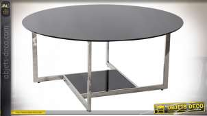 TABLE BASSE ACIER VERRE 100X100X45 NOIR