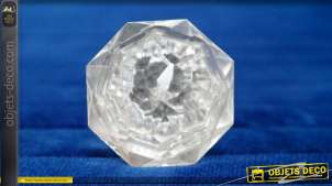 Bouton de meuble en verre translucide taillé en forme de cristal de roche, multifacette, ambiance chic et sobre, Ø4cm