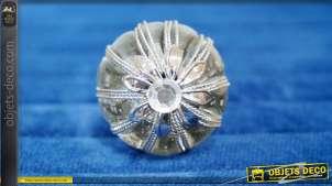 Bouton de meuble en verre et métal, de forme sphérique esprit sceptre royal, forme de fleur stylisée en finition argentée , Ø3cm