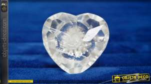 Bouton de meuble décoratif en forme de cœur, en verre translucide taillé et poli, multifacette ambiance romantico chic, Ø4cm