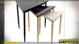 TABLE AUXILIAIRE SET 3 MARBRE MÉTAL 68X46,5X53