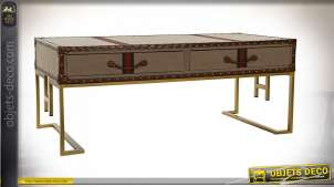 TABLE BASSE MÉTAL PU 120,5X61,5X48,5 MARRON