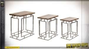 TABLE AUXILIAIRE SET 3 MANGUE ACIER 56X35,5X60