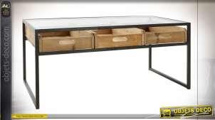 TABLE BASSE MÉTAL VERRE 110X60X48 NOIR