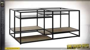 TABLE BASSE MÉTAL BOIS 120X60X50 NOIR