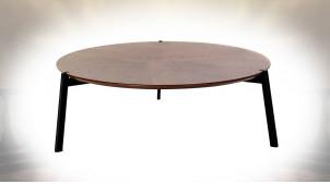 TABLE BASSE MDF MÉTAL 110X110X37,5 NOYER MARRON