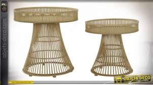 TABLE AUXILIAIRE SET 2 ROTIN BAMBOU 61,5X61,5X61