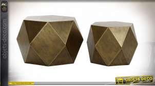 TABLE AUXILIAIRE SET 2 MÉTAL 68X68X45,5 VIEILLI