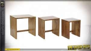 TABLE AUXILIAIRE SET 3 BOIS MASSIF 51X36X51 25