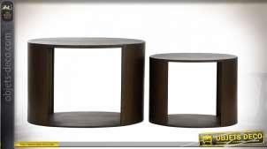 TABLE AUXILIAIRE SET 2 MÉTAL 80X50X56 VIEILLI