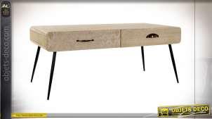 TABLE BASSE PAULOWNIA MDF 100X52X42,5 TIROIRS GRAVÉ