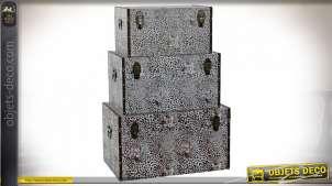 COFFRE SET 3 TOILE BOIS 64X40X35,5 ANIMAL BLANC