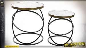 TABLE AUXILIAIRE SET 2 MÉTAL MDF 50X50X57 MARBRE