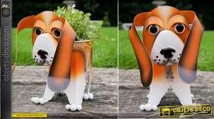 Beagle en métal version jardinière pour plante, décoration de terrasses ou jardins, originale et colorée, 31cm
