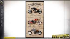 PENDULE FER MDF 61X10X120 3 RELOJE MOTO NATUREL