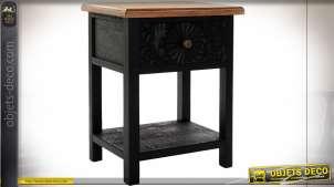 TABLE DE CHEVET SAPIN 48X35,5X60,5 GRAVÉ NOIR