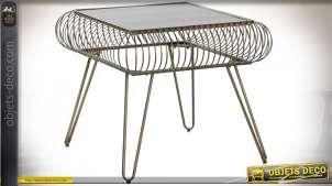 TABLE AUXILIAIRE MÉTAL VERRE 58X58X50 VIEILLI DORÉ