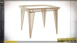TABLE AUXILIAIRE MÉTAL MIROIR 64X64X52 DORÉ