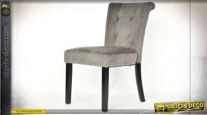 CHAISE POLYESTER MDF 51X69X89 VELOURS GRIS