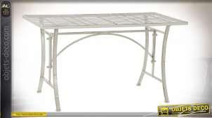 TABLE BASSE MÉTAL 100X50X56 VIEILLI BLANC