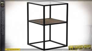 TABLE AUXILIAIRE MÉTAL VERRE 40X40X60 NOIR