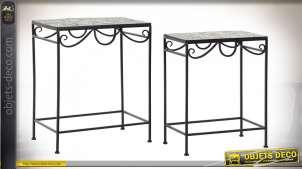 TABLE AUXILIAIRE SET 2 FER FORGÉ 48X30X58 MOSAIQUE