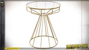 TABLE AUXILIAIRE MÉTAL VERRE 50X50X60 DORÉ