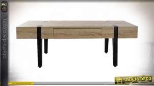 Table de style moderne en fer et plateau en bois finition chêne clair, 160cm