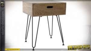 Table de chevet de style moderne en métal et manguier, 61cm